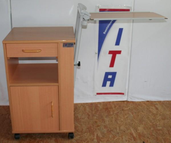 Nachttisch / Beistelltisch mit winkel- und höhenverstellbaren Seitentisch
