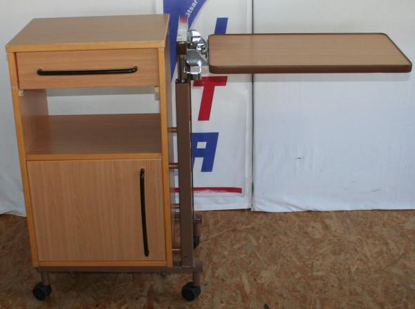 Nachtschrank / Nachttisch mit winkel- und höhenverstellbaren Seitentisch